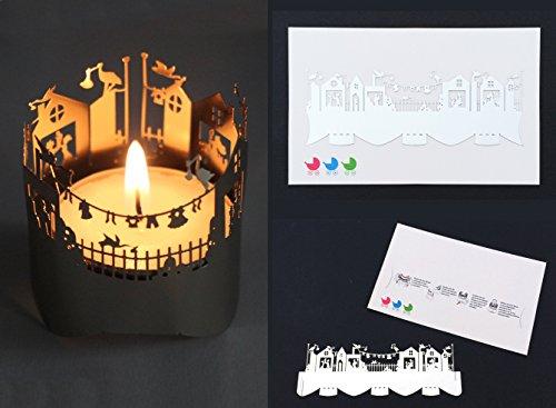 Glückwunschkarte zur Geburt oder Taufkarte mit Windlicht aus Metall - Über diese Glückwünsche zur Geburt freuen sich Mama, Papa und das neugeborene Baby