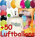 * BALLONGAS FÜR 50 BALLONS + 50 GROSSE METALLIC-BALLONS * für Kindergeburtstag oder Party // Das Helium Einwegflaschen Set mit ø28cm Metallic Latexballons // Deko Geburtstag Ballon Luftballon Folienballon