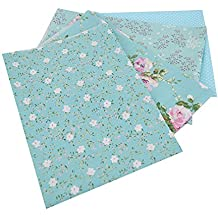 LA HAUTE 4Pcs 50x50cm Blue Series Fabric Bundles Flower Printed Cotton Fabric Comfortable Patchwork Fabric Home Textile Material Cloth for Sewing
