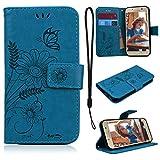 CE-Link für Samsung Galaxy A3 2017 Handyhülle Hülle Ledertasche Schutzhülle Leder Huelle mit Blau Schmetterling Blumen Stand Halter Magnetverschluss Wallet Case Inner Weiche Silikon Backcover