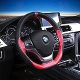 PDR Cosido a mano de microfibra de cuero Cubierta del volante automotriz Accesorios interiores automotrices General 15inch 38cm respirable protección antideslizante masaje inodoro negro y rojo