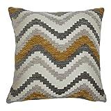 McAlister Textiles Aztec Kollektion | Kissenbezug im geometrischen Navajo-Muster 50cm x 50cm in Gelb & Grau | Deko Kissenhülle für Zierkissen, Sofa, Bett, Couch