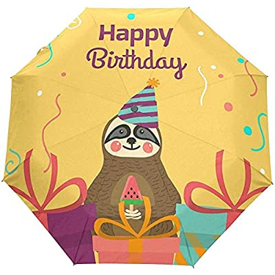 Feliz cumpleaños Cierre automático Paraguas Anti UV Plegable Paraguas automático Compacto