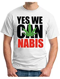 OM3 - YES WE CAN-NABIS - T-Shirt Obama Legalize 420 USA Reggae Peace Paix Pace Hippie Flower Power, S - 5XL