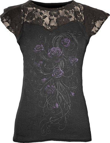 Spiral maglia a manica corta con inserti in pizzo da donna in nero