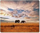 Mauspad / Mouse Pad aus Textil mit Rückseite aus Kautschuk rutschfest für alle Maustypen Motiv: Afrika Safari Elefanten Herde | 05