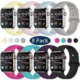 Hamile Armband Kompatibel für Apple Watch 38mm 40mm 42mm 44mm, Weiche Silikon Wasserdicht Ersatz Uhrenarmbänder für Apple Watch Series 4, Series 3, Series 2, Series 1, S/M, M/L