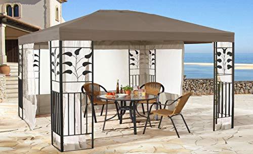 QUICK STAR Garten Blätter Pavillon 3x4m Taupe mit 4 Seitenteilen mit Moskitonetz Sand Partyzelt Metall Carport