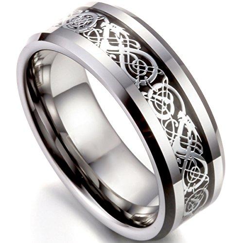 Flongo Herrenring Männer Ringe Bandring Daumen Ring Siegelring Wolfram Wolframcarbid Silber Schwarz Irish Celtic Knot Irischen Keltisch Knoten Drachen Herren-Accessoires, Größe 61