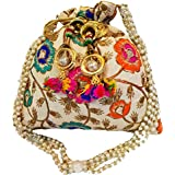 THE TAN CLAN Silk Golden Women's Casual Potli Bag (Assorted Colors)