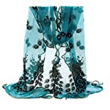 Bluelans® Women's Fashion Soft Scarf Long Scarfs Peacock Flower Printed Scarves Shawl Wraps (Peacock Blue)