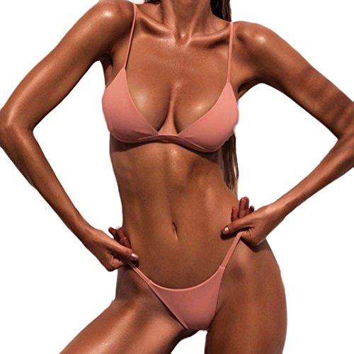 Bikini Set,Hevoiok Damen Bademode Zweiteilig Super Sexy Badeanzug Solid Push-up Gepolstert BH Bikinis For Mädchen Frauen Strandmode (Rosa, M)