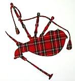 Kleiner schottischer Dudelsack aus Stoff mit Tartan-Muster zum Aufbügeln. rot