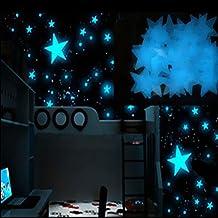 OHQ Pegatina De Pared Estrellas Luminosas Pegatinas Luminosas 100PC NiñOs Dormitorio Resplandor Fluorescente En Las Estrellas