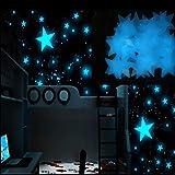 OHQ Pegatina De Pared Estrellas Luminosas Pegatinas Luminosas 100PC NiñOs Dormitorio Resplandor Fluorescente En Las Estrellas Oscuras Pegatinas De Pared Amarillo Rosa Azul (3x3cm / 1.19'x1.19', Azul)