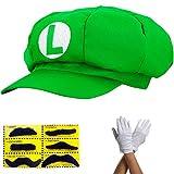 Super Mario gorra LUIGI - disfraz para adultos y niños en 4 colores diferentes + guantes y 6x barba...