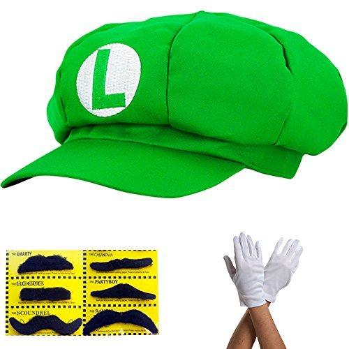 LUIGI Mütze - Kostüm für Erwachsene & Kinder in 4 verschiedenen Farben + Handschuhe und 6x Klebe-Bart - perfekt für Fasching, Karneval & Cosplay (Kinder Luigi Kostüme)