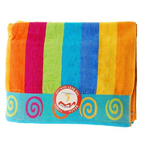 Jumbo Telo Mare 2 Posti Due Piazze Matrimoniale Cotone Spugna Egiziana 100% varicolori (Righe Multicolor)