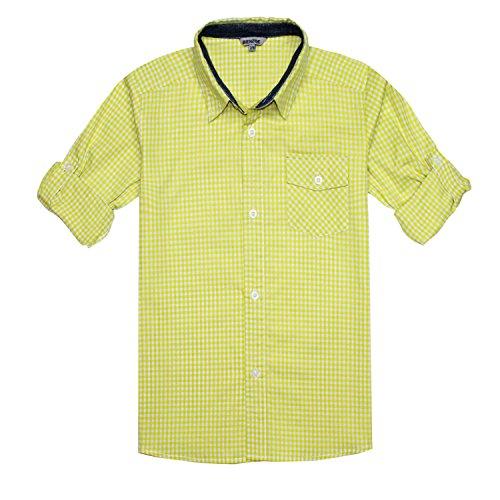 Bienzoe Jungen Baumwolle Plaid Knopf Unten Hemd Gelb Weiß Größe 7/8