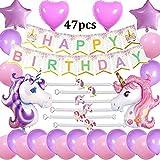 Cebelle Einhorn Unicorn Birthday Party Supplies Dekorationen rosa lila Gefälligkeiten, 47pcs Party Pack, alles Gute zum Geburtstag Banner, 2 riesige Einhorn Ballons, 6 Einhorn Armbänder Armbänder, 2 Herzen und 2 Sterne Ballons, 20 Latex Ballons, Geschenk für Mädchen Frauen Kinder