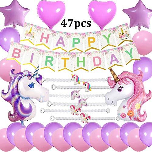 Cebelle Unicorn Unicorno Decorazioni per feste di compleanno Bomboniere Purple Pink, 47pcs Party Pack, Happy Birthday Banner, 2 Enormi palloncini Unicorn, 6 Unicorn Bracelets Wristband, 2 Heart e 2 Star Balloons, 20 Latex Balloons, Gift for Girls Women