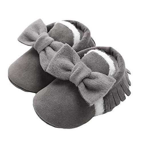FORH Cartoon Neugeborenes Babyschuhe Mädchen Jungen Anti-Slip Socken Slipper Stiefel Halloween Flock Kürbis Weiche Sohle Freizeitschuhe Unisex-Baby Krabbelschuhe (11, Dunkelgrau)