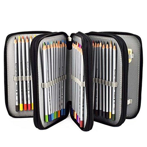 Preisvergleich Produktbild Newcomdigi Federmappe Schüleretui 72 Bleistift Inhaber Farbstifte Mehrzweck Etui Bleistift-Beutel für Schule Büro Kunst (Bleistifte sind nicht enthalten) -schwarz