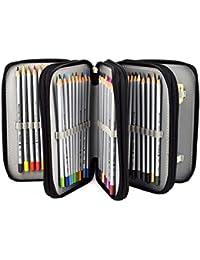 Newcomdigi Sac à Crayon de Toile Sac à Crayon 72 Couleurs Organisateur Crayon Porte-Crayons Grande Capacité Solide Durable Pratique pour Bureau Ecole Art - Noir