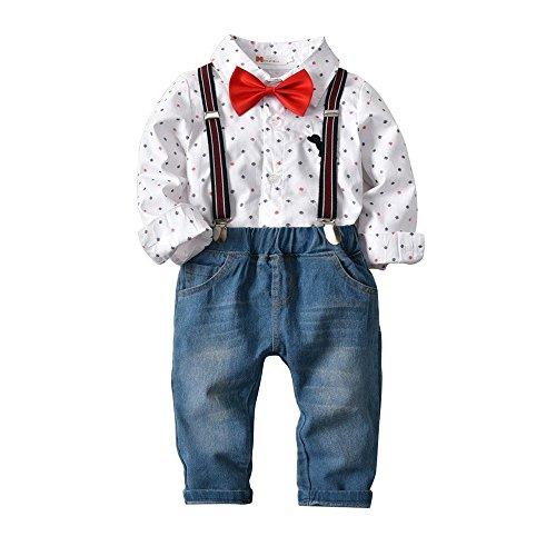 QTONGZHUANG Cross-Border Boy Print Langarm-Shirt Denim Hosen Anzug Kinder Gentleman Shirt vierteilige Kinder Anzug, 130cm -