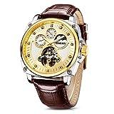 Time100 Multifunktionale Hohle Lederarmband Uhr Automatik Mechanische Armbanduhr Männer Mode Wasserdichte Runde Armbanduhr(Schwarz,58g)