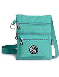 Nylon Waterproof Crossbody Bags For Women Fashion Flower Printing Star Shoulder Messenger Bag Travel Purse (Green)