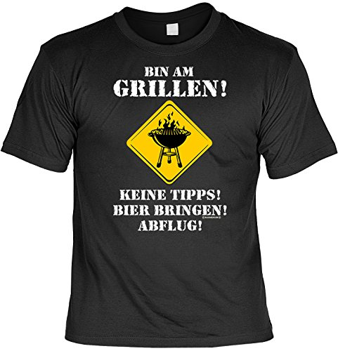 Grillen T-Shirt für Grillmeister Bin am Grillen für Grillfans für Partygriller Hobbygriller Grill T-Shirt Grillparty T-Shirt Laiberl Leiberl Schwarz