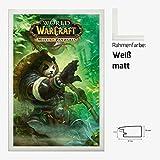 Kunstdruck Poster - World of Warcraft WoW Mists of Pandaria 61 x 91,50 cm mit MDF-Bilderrahmen Pisa & Acrylglas reflexfrei, viele Farben zur Auswahl, hier Weiß matt