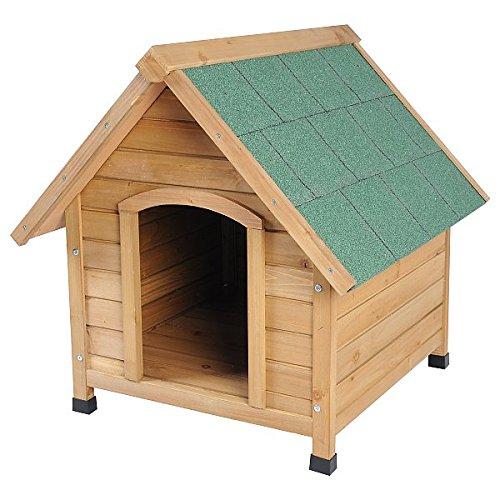 WOLTU Hundehütte Massiv Holz Hundehaus Spitzdach Wetterfest Hütte 76x76x72cm