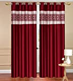 Homebird Premium Red Solid Polyester single set of curtain