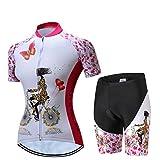 Radfahren Jersey Frauen Fahrrad Trikots Sport MTB Straßenberg Bluse Kurzarm Fahrrad T-Shirts Top Outdoor Reiten Jersey Fahrrad Jacke Rosa Weiß Größe L