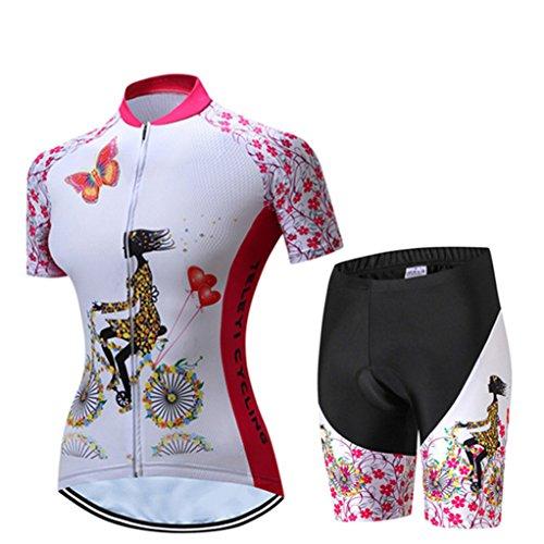 Radfahren Jersey Frauen Fahrrad Trikots Sport MTB Straßenberg Bluse Kurzarm Fahrrad T-Shirts Top Outdoor Reiten Jersey Fahrrad Jacke Rosa weiß Größe M -
