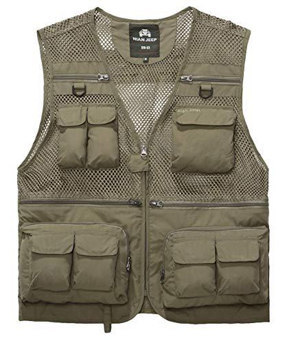 Multi-tasche Reißverschluss (Icegrey Herren Outdoor Weste Multi-Tasche Reißverschluss Netz Weste Angeln Vest für Jagd Angeln Camping Khaki)