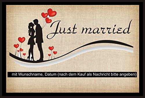 """crealuxe Fussmatte Just married - (mit Wunschname und Datum)- 5 -\"""" - Fussmatte, bedruckt - Türmatte Innenmatte Schmutzmatte lustige Motivfussmatte"""