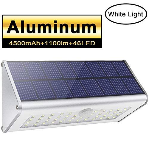 Solarim freiensicherheits-Wandleuchten, Licwshi 1100lm 46 LED 4500mAh silberne Aluminiumlegierung-Infrarotbewegungs-Sensor-drahtlose wasserdichte Nachtlichter für Garten, Straße, Haustür- weißes Licht -