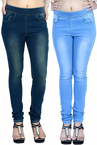La Fem Women's Jeggings Combo LFJEGG7001GRTINTLTBLUE34_Grey Tint & Light Blue_34