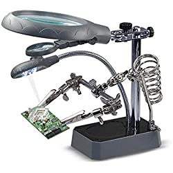 Loupe de lampe de bureau, entretien de montre de carte mère, établi auxiliaire de pince auxiliaire, type de support multifonctionnel (Couleur : Gray)
