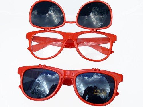 Original Nerd Brille in Feuer Rot Two Sides mit Nerd Brillenbeutel