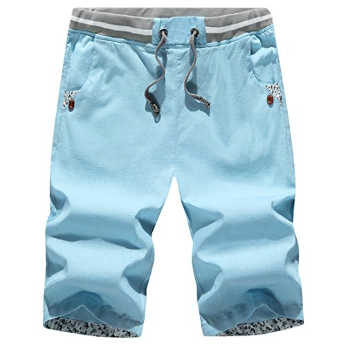 Men's Bermuda Masculinas Cotton Breathable Casual Shorts Light Blue