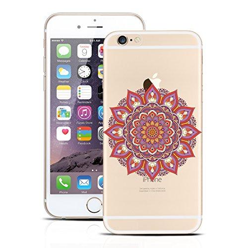 Yokata Cover per iPhone 6S, iPhone 6 (4.7 inch) Custodia per iPhone 6S / 6 gel Silicone Case Durevole PC Backcover Protettiva Caso Premium Ultra Sottile Acrilico Protezione Shell + Cordino - Design Pa Mandala