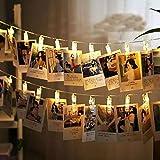 iZoeL LED Lichterkette 10er 1M Foto Clips Warmweiß Batterie Innen IP44 Wasserdicht Weihnachtsdeko Weihnachtsbeleuchtung Stimmungslicht Deko für Heiratsantrag, Terrasse, Garten, Bett, Schlafzimmer, Weihnachtsfest, Hochzeit