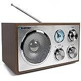 Blaupunkt RXN 180 | Retro und Designradio mit Bluetooth und Aux In | UKW/ FM Küchenradio | Kofferradio mit Holzgehäuse | Nostalgieradio mit Teleskopantenne | Analog-Tuner | beleuchtete Senderskala