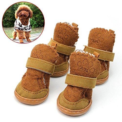 Lanlan 4PCS Pet Dog Puppy Baumwoll-Mischgewebe Schuhe Winter Snow Warm Walking Stiefel khaki New–S (Farm-mädchen-kleidung)