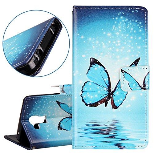 Coque pour Huawei P8, Etui pour Huawei P8, ISAKEN Peinture Style PU Cuir Flip Magnétique Portefeuille Etui Housse de Protection Coque Étui Case Cover avec Stand Support et Carte de Crédit Slot pour Hu Papillon Bleu