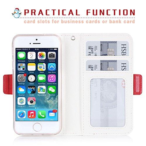 Coque iPhone SE, Coque iPhone 5S, Coque iPhone 5, [Coque Maquillage] étui en cuir PU de première qualité avec Miroir Cosmétique, Card Slot et sangle en noeud intégré pour Apple iPhone SE/5S/5 Rouge E-Rouge